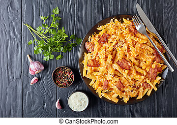 australian fries with melted cheese and bacon