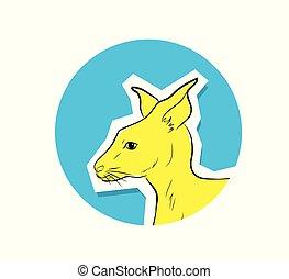 Australian Kangaroo Face Vector
