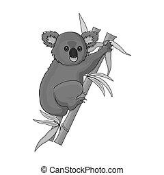Australian koala icon in monochrome style isolated on white background. Australia symbol stock bitmap,raster illustration.