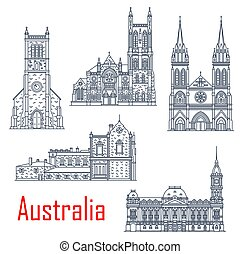 Australian isolated vector landmarks. Vector St. Peter Cathedral, Melbourne town hall, Old Parliament Adelaide, St. Francis Xavier Cathedral. Holy Trinity church Adelaide