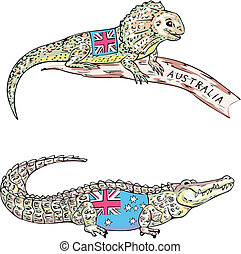 Australian lizard and crocodile
