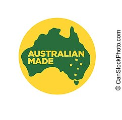 Australian made logo made in australia icon symbol sign green and gold yellow with southern cross vector