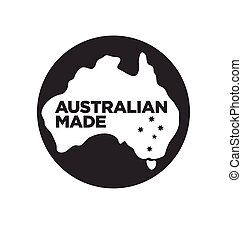 Australian made logo made in australia icon symbol sign with southern cross vector