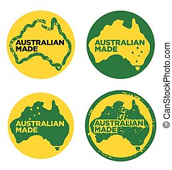 Various Australian Made logos Made in Australia vector