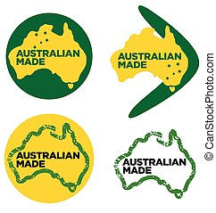 Various Australian Made logos Made in Australia vector