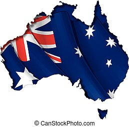Australian Map-Flag - Australian map cut-out, highly...