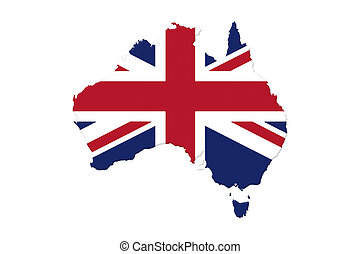 Australian map with Flag of Australia. National emblem 3D illustration