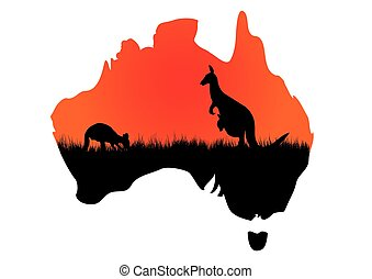Australian map with kangaaroo - a map of Australia with a...