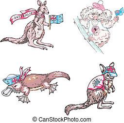 Australian marsupials animals - kangaroo, koala, platypus....