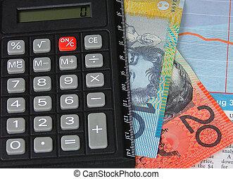 money - australian money and calculator