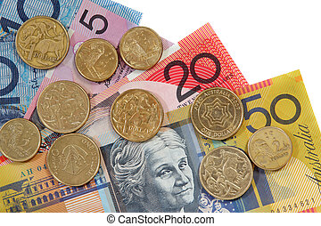 Australian coins and notes, on white background.