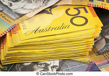 Australian money background. Fifty dollar notes.