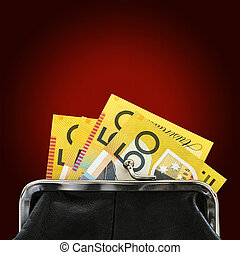 Australian Money in Purse over Red Background