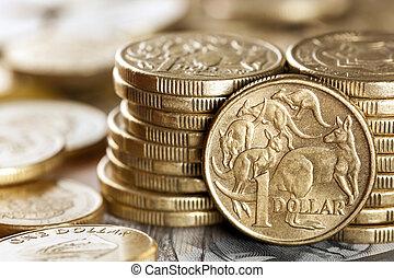 Australian Money - Stacks of Australian one dollar coins. ...