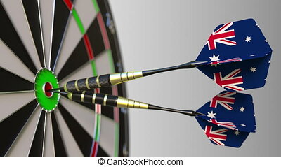 Australian national achievement. Flags of Australia on darts...