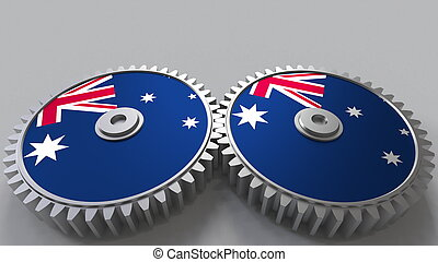Australian national project. Flags of Australia on moving cogwheels. Conceptual 3D rendering