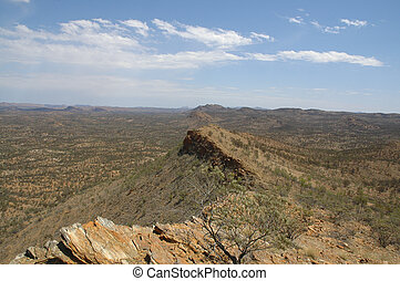 Panoramic view of outback landscape in Central Australia near Alice Springs, Northern Territory.