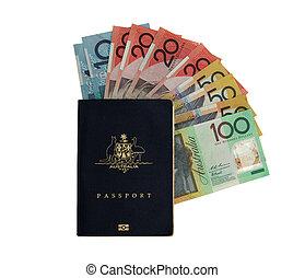 Australian Passport with various Australian note. Money and passport = overseas holiday
