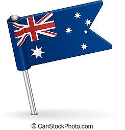 Australian pin icon flag. Vector illustration