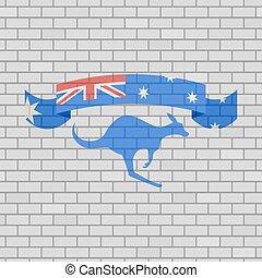 australian riboon in brick wall background