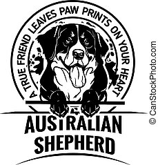 Australian Shepherd - Dog Set Happy Face Paw Puppy Pup Pet Clip Art K-9 Cop Police Logo SVG PNG Clipart Vector Cricut Cut Cutting - vector illustration for t-shirt, logo and template badges in monochrome style