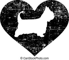 Australian Silky Terrier in heart black