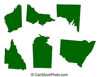 Australian States - Map of six states of Australia, isolated...
