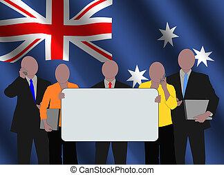 Australian team with flag
