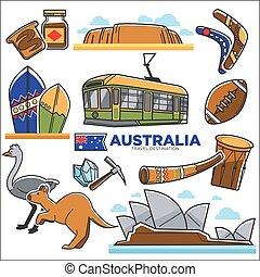 Australian traditional symbols colorful set isolated on white