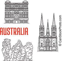 Australian travel landmarks, thin line style