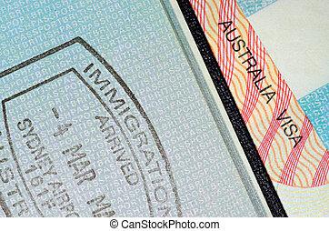 australian visa and passport stamp