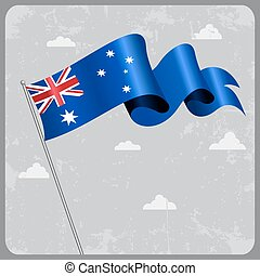 Australian wavy flag. Vector illustration.