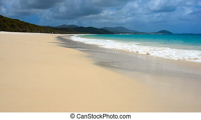 Australian White Haven beach with turquoise water, silica...