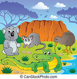 australiano, animais, tema, 3