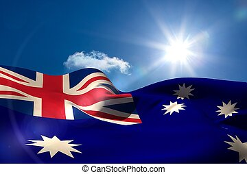 australiano, bandera nacional, debajo, soleado, cielo