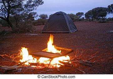 australiano, campeggio, deserto selva
