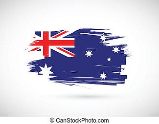 australiano, grunge, bandiera, illustrazione, inchiostro