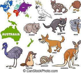 australiano, ilustração, educacional, jogo, animais