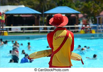 australiano, lifeguards, em, costa ouro, queensland,...
