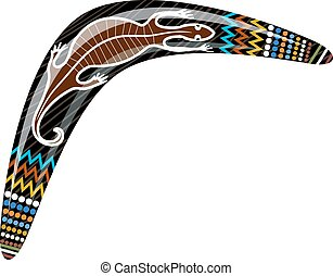 australiano, madeira, boomerang., caricatura, boomerang, com, um, lagarto, ligado, um, branca, experiência.