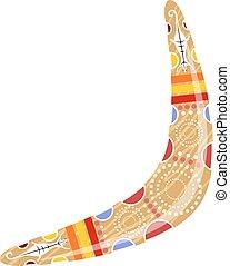 australiano, madeira, boomerang., caricatura, boomerang, ligado, um, branca, experiência., vetorial, ilustração