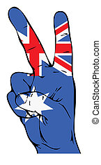 australiano, paz, bandeira, sinal