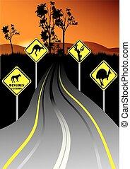 australiano, sinais estrada, ao lado, a, estrada