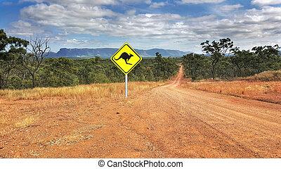 australiano, sinal estrada, norte, queensland