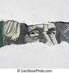 australiano, soldi, faccia, attraverso, carta lacerata