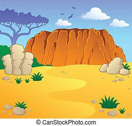 australiano, tema, paisaje, 1