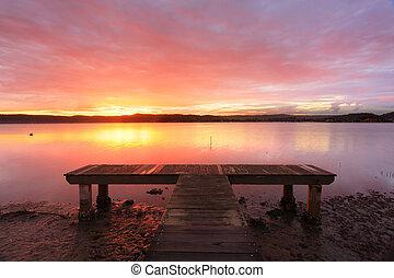australiano, tramonto, a, verde, punto, molo, australia