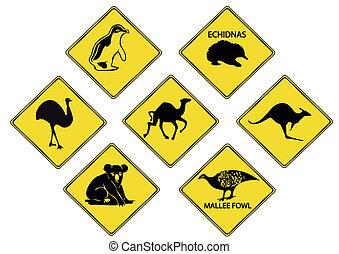 Australias wildlife road signs.
