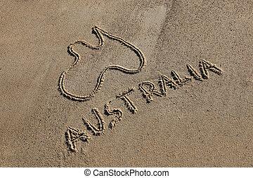 australie, carte, et, mot, dessiné, dans sable, plage, sur,...