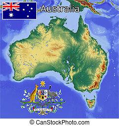 australie, carte, manteau, drapeau